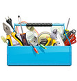 blue toolbox with electric tools vector image vector image