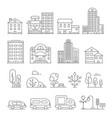 buildings and urban objects linear vector image