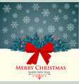christmas card with red bow and snowflakes vector image vector image