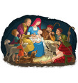 christmas nativity scene holy family and shepherds vector image vector image