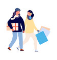 christmas shopping happy couple buy holiday gifts vector image