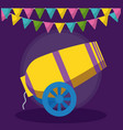 circus cannon with garland hanging vector image
