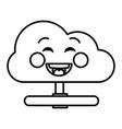 cloud computing kawaii character vector image vector image