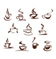 coffee cups for cafeteria cafe icons set vector image
