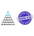 collage ponzi pyramid scheme icon with textured vector image vector image