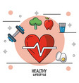 colorful poster of healthy lifestyle with heart vector image vector image