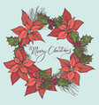 composition with colored poinsettia holly vector image