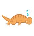 cute dinosaur cartoon character sleeping vector image