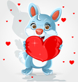 Cute little bunny holds a soft red heart-pillow vector image vector image