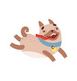 cute pug dog running with tongue out funny vector image vector image