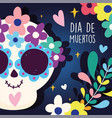 day dead catrina flowers hearts branch vector image vector image