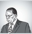 drawing of emmerson mnangagwa vector image vector image