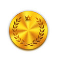 empty textured golden metal button with crown vector image vector image