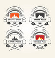firewood oven pizza logo vector image vector image