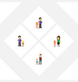 flat icon relatives set of mother boys son and vector image vector image