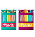 flat pencils in box vector image