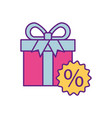 gift box tag discount special offer percent off vector image