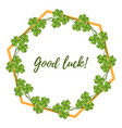 good luck card with four leaf green clover vector image vector image