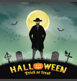 halloween invisible man in a night graveyard vector image