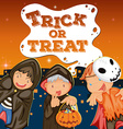 Halloween theme with kids trick or treat vector image vector image