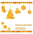 Holiday card with christmas honey icons vector image vector image