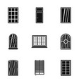 house window icon set simple style vector image vector image