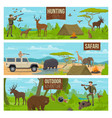 hunting sport outdoor adventure and safari banners vector image vector image