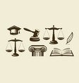 justice set of icons lawyer advocate law symbol vector image