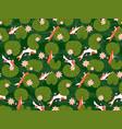 koi carp fishes under green lotus leaves seamless vector image