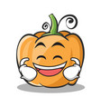 laughing pumpkin character cartoon style vector image vector image