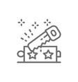 magic trick with saw line icon vector image vector image