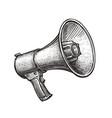 megaphone bullhorn sketch hand-drawn vintage vector image vector image