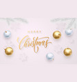 merry christmas greeting card golden decoration vector image