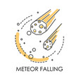 meteor falling natural disaster meteorite or vector image