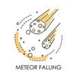 meteor falling natural disaster meteorite vector image