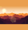 mountains landscape with hills at sunset vector image