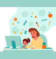 online children education home child learning vector image