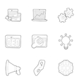 Optimization icons set outline style vector image vector image