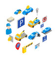 parking set icons vector image vector image
