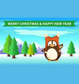 penguin in forest christmas and happy new year vector image vector image