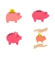 piggy bank icon set flat style vector image