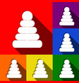 pyramid sign set of icons vector image vector image