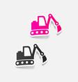 realistic design element excavator vector image vector image