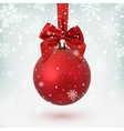 Red Christmas ball with ribbon and a bow vector image vector image