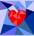 red heart on blue wrapping surface background vector image