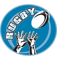 rugby player hands catch ball vector image vector image