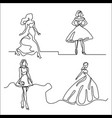 set silhouette of a slender bride vector image vector image