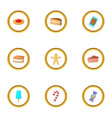 sweets icons set cartoon style vector image vector image