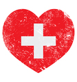 Switerland heart retro flag vector image vector image