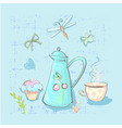 tea time cute childish elements set on vector image vector image
